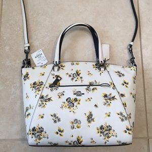 Coach Yellow and Black Floral Bag (straps/handles)